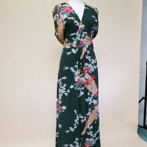 Green Peacock Textile Maxi Dress